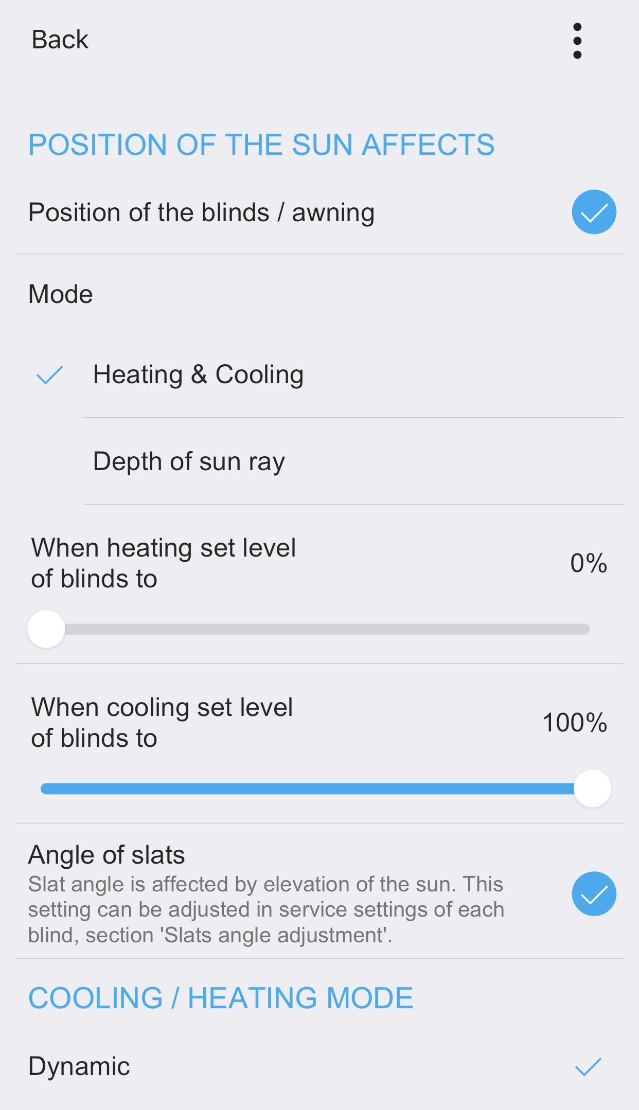 Heating / cooling mode