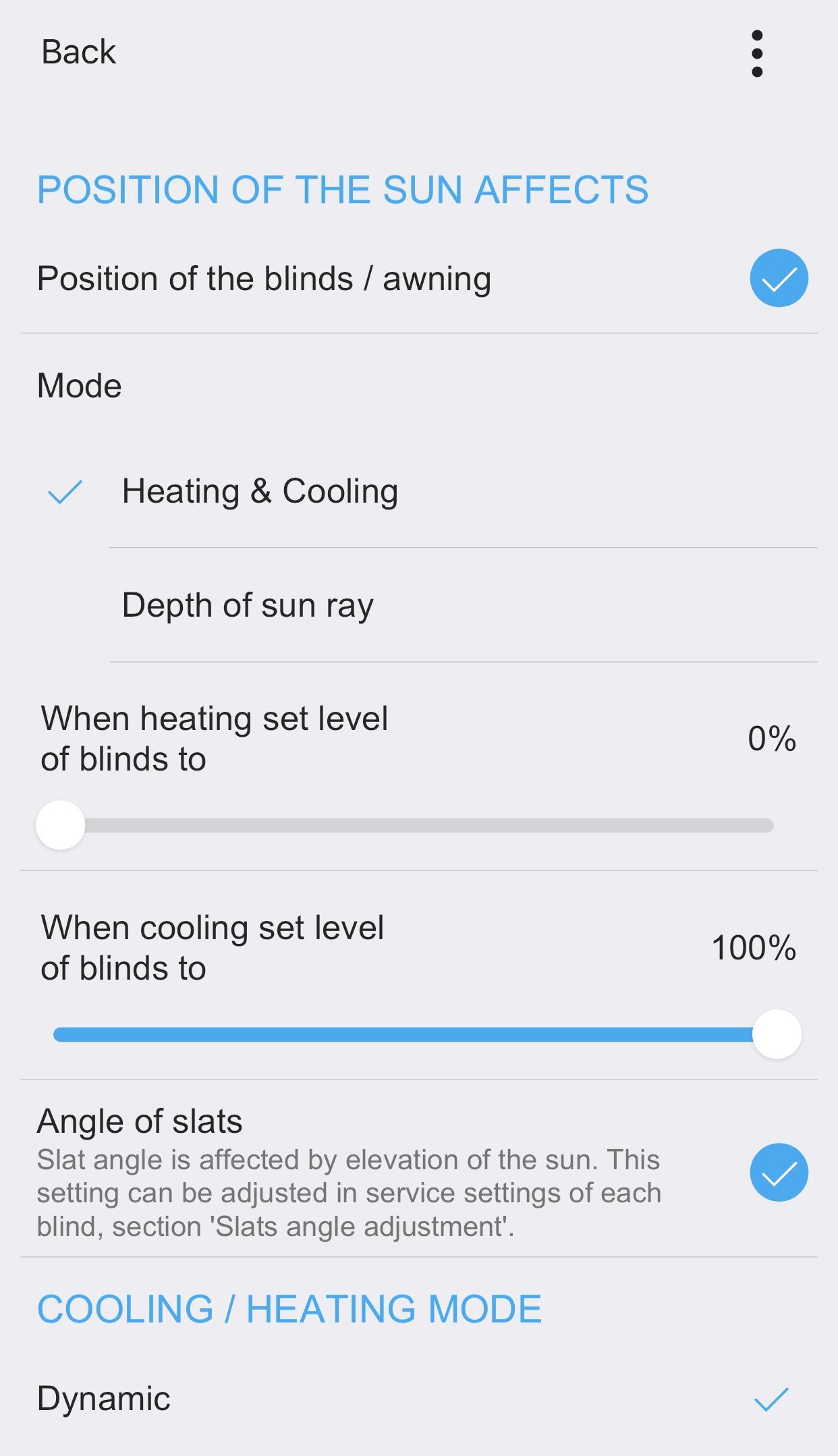 Mode chauffage / refroidissement